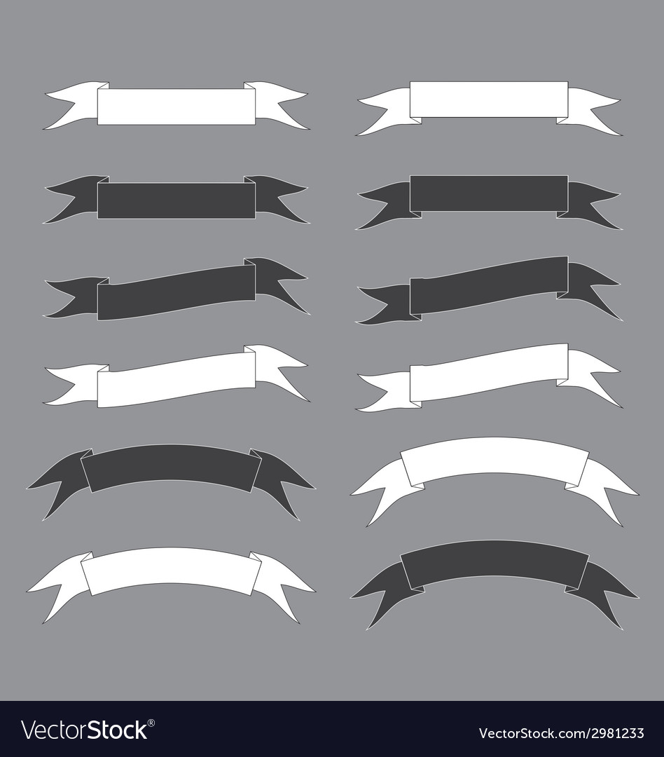 Bw ribbon vector image