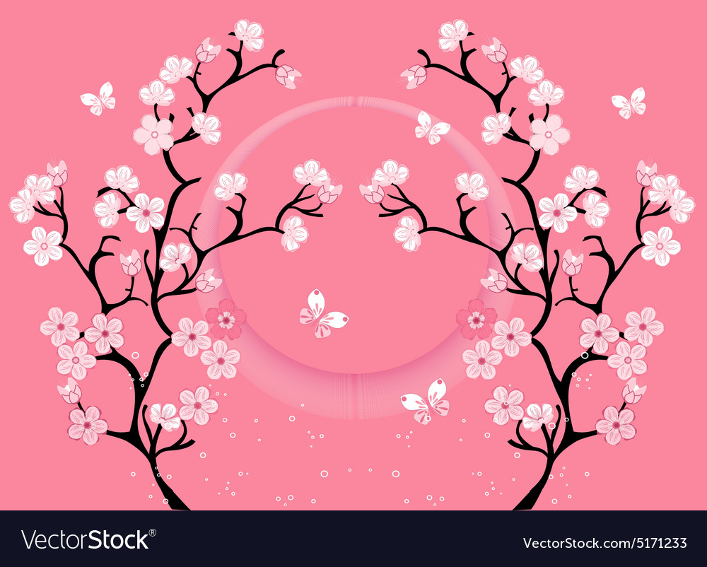 Cherry blossom motif template Royalty Free Vector Image