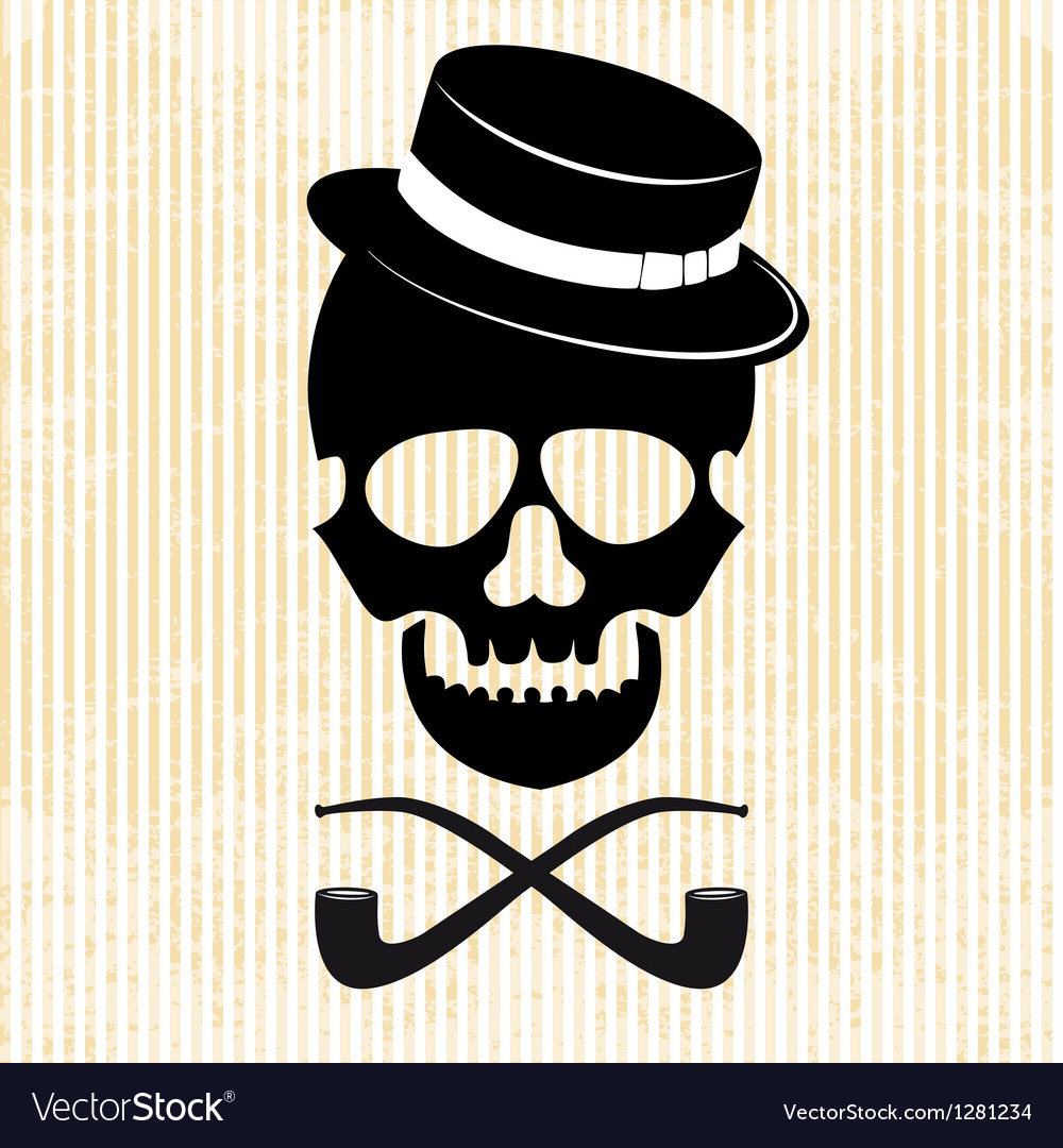 Hipster skull graphic background vector image