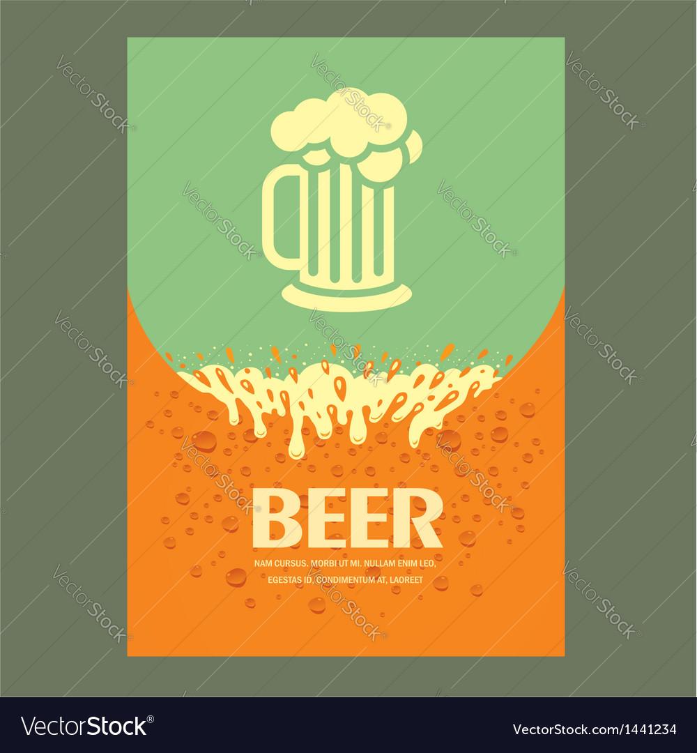 Beer cover card menu splash Vector Image