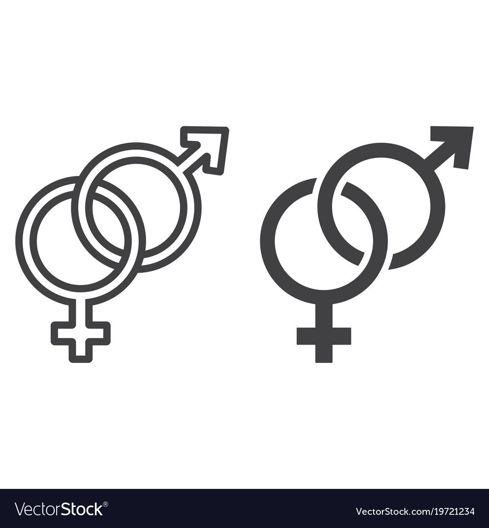 Heterosexual line and glyph icon vector image