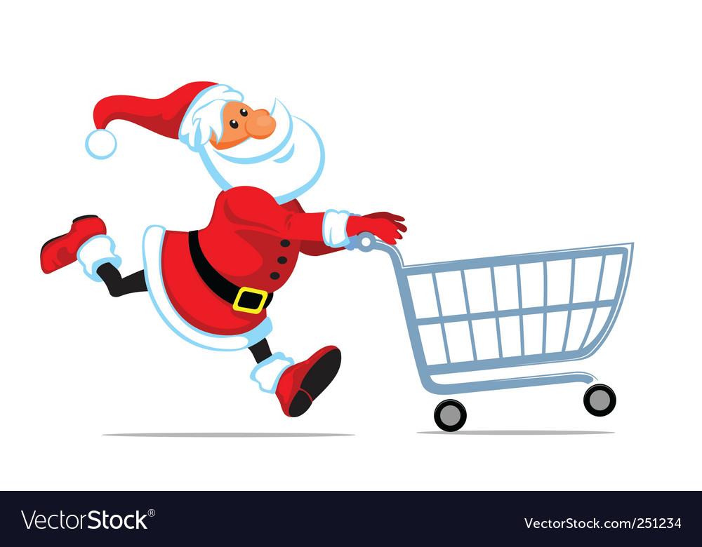 Santa run with shopping cart vector image