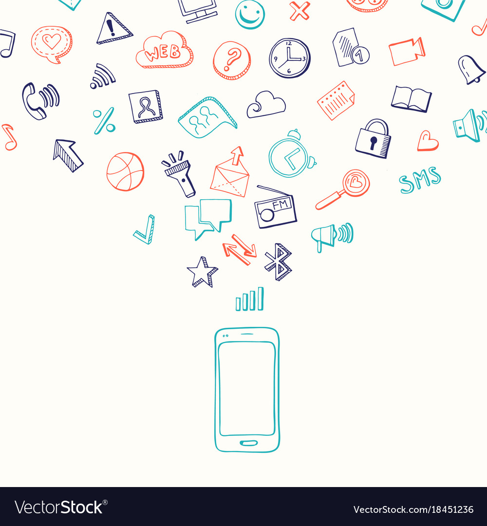 Background with social media hand drawn vector image