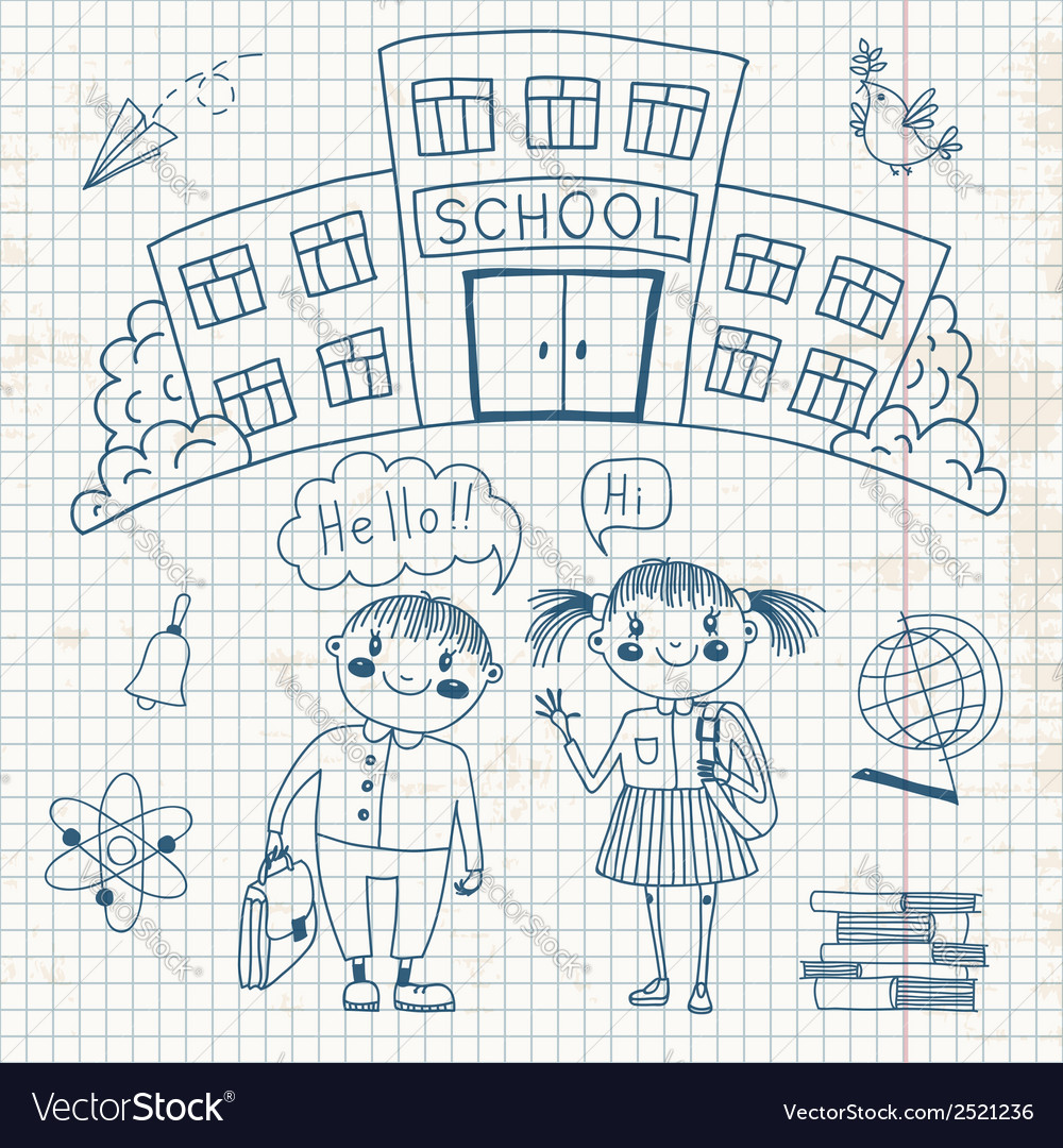 Friends are waiting for you at school vector image