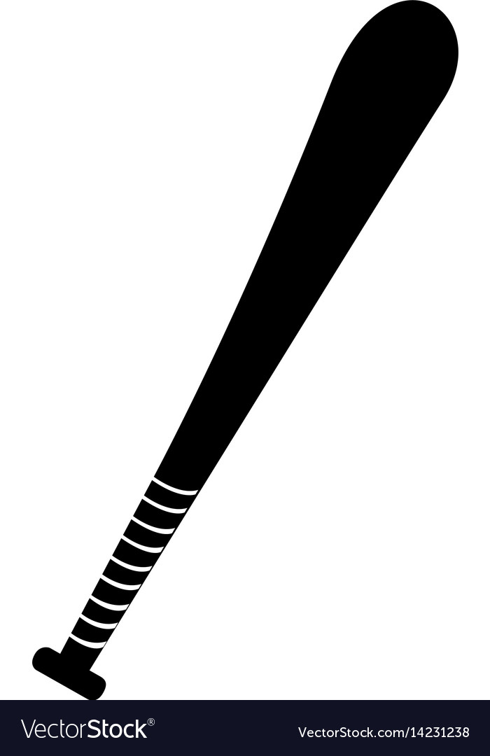 Black silhouette baseball bat element sport vector image