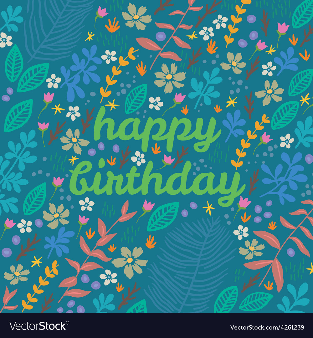 Cartoon floral card vector image