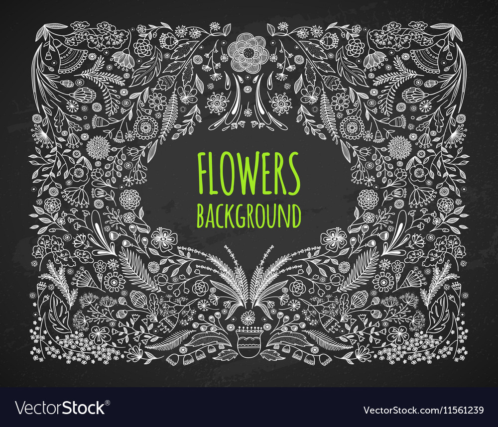 Floral background Hand drawing Linear style vector image