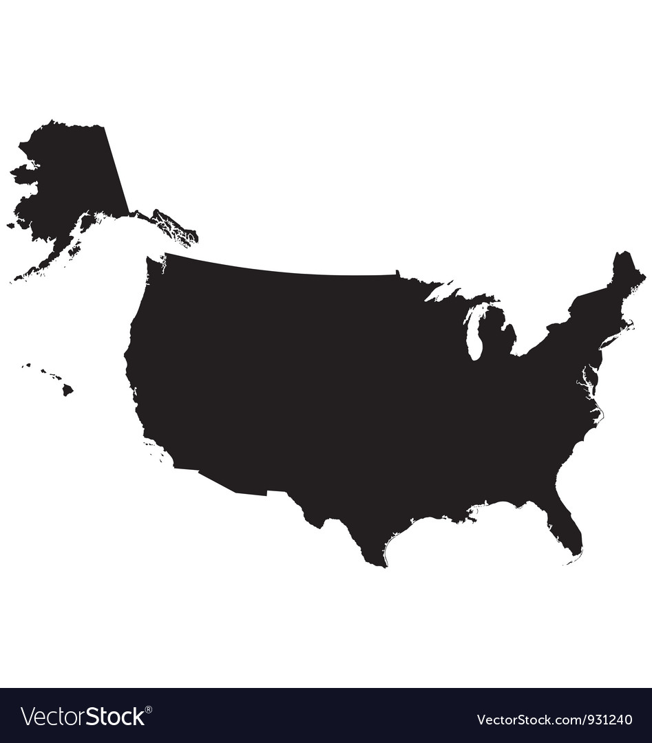 Silhouette Map Of The United States Of America Vector Image - Us map black and white vector