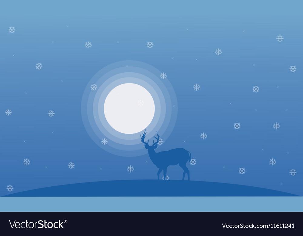 Deer at winter Christmas landscape vector image