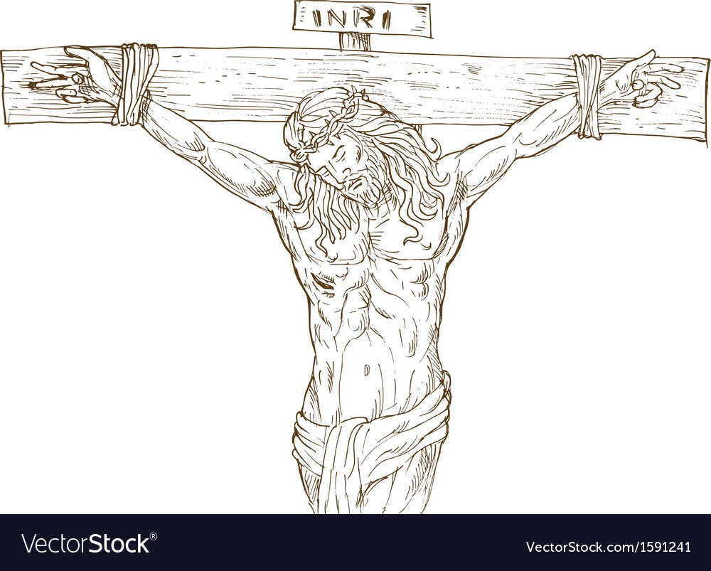 jesus christ hanging on the cross royalty free vector image