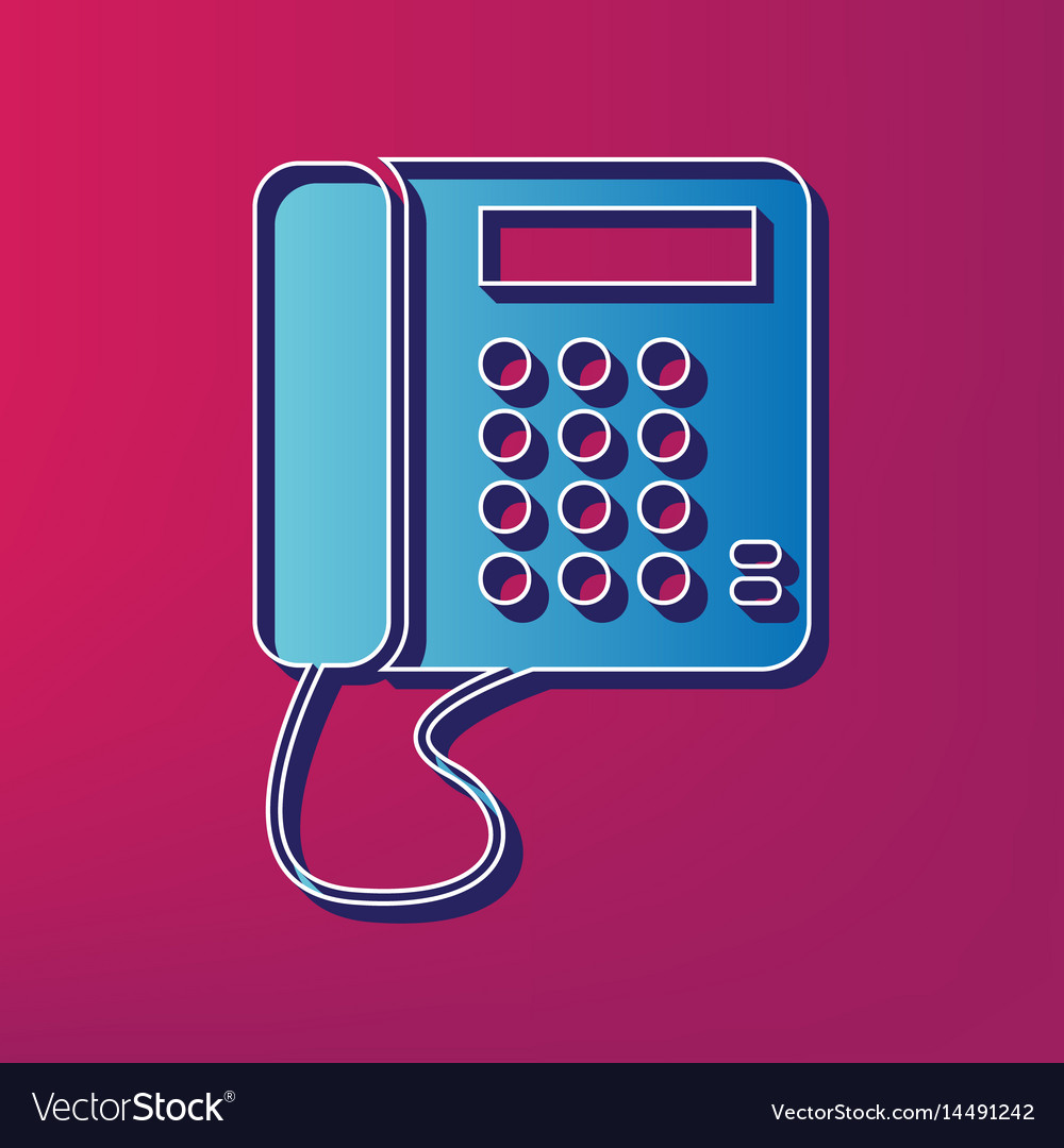 Communication or phone sign blue 3d vector image