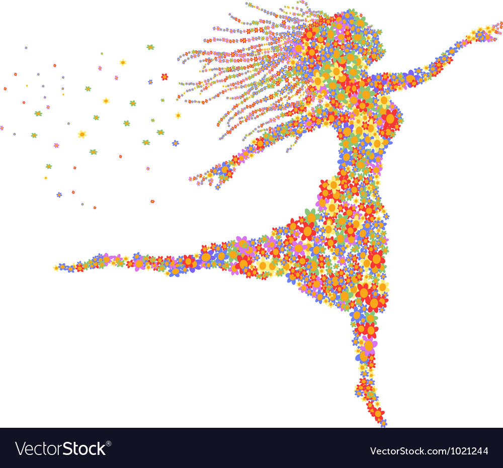 Beautiful dancing floral girl vector image