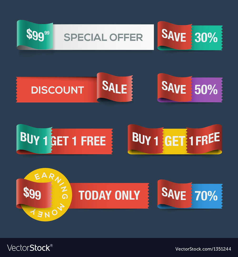 Collection of sale discount website ribbons vector image