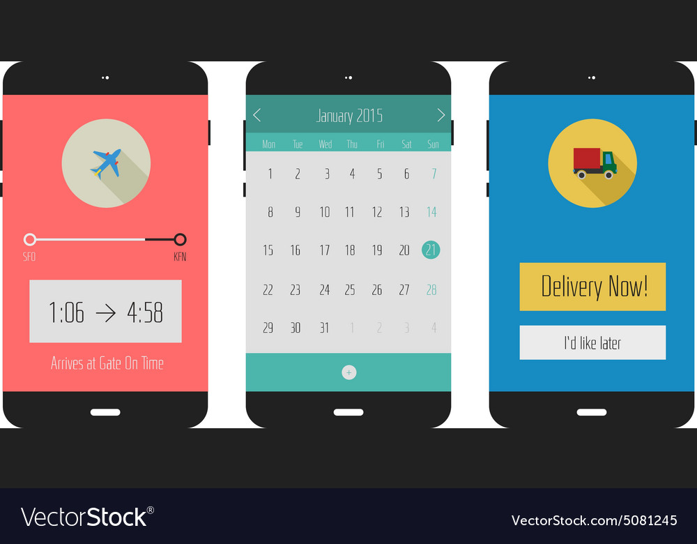 UIs of calendar travel and shopping mobile apps vector image