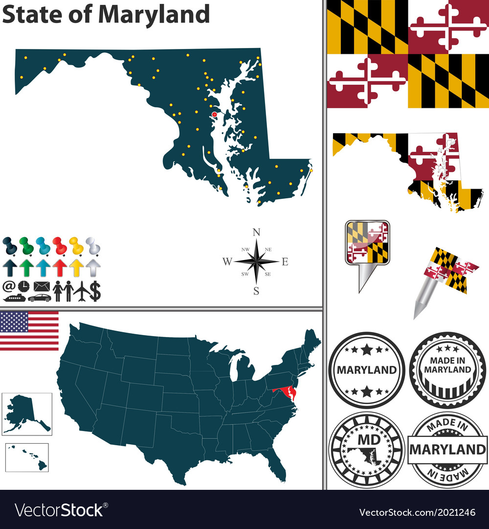 Map of Maryland Royalty Free Vector Image  VectorStock