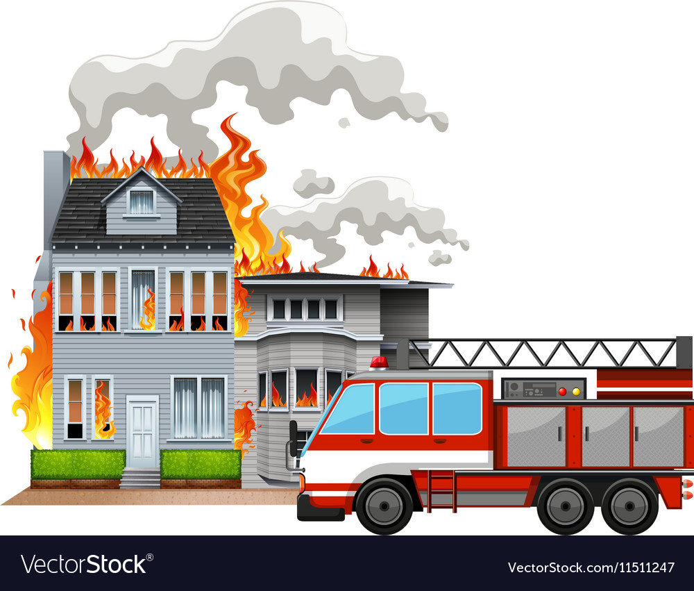 Fire scene with fire truck vector image