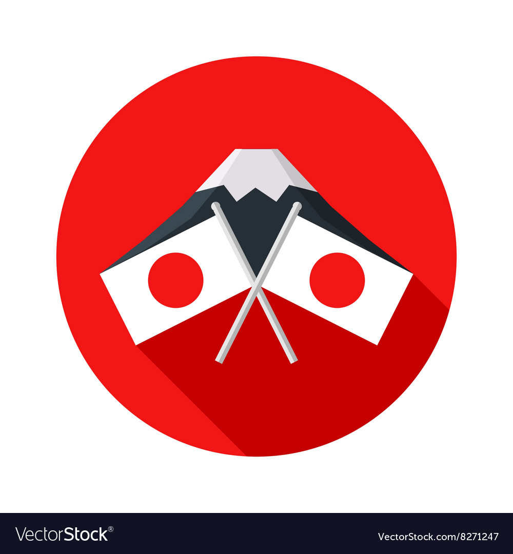 Icon With Japanese Flag Mount Fuji Royalty Free Vector Image - Japanese flag
