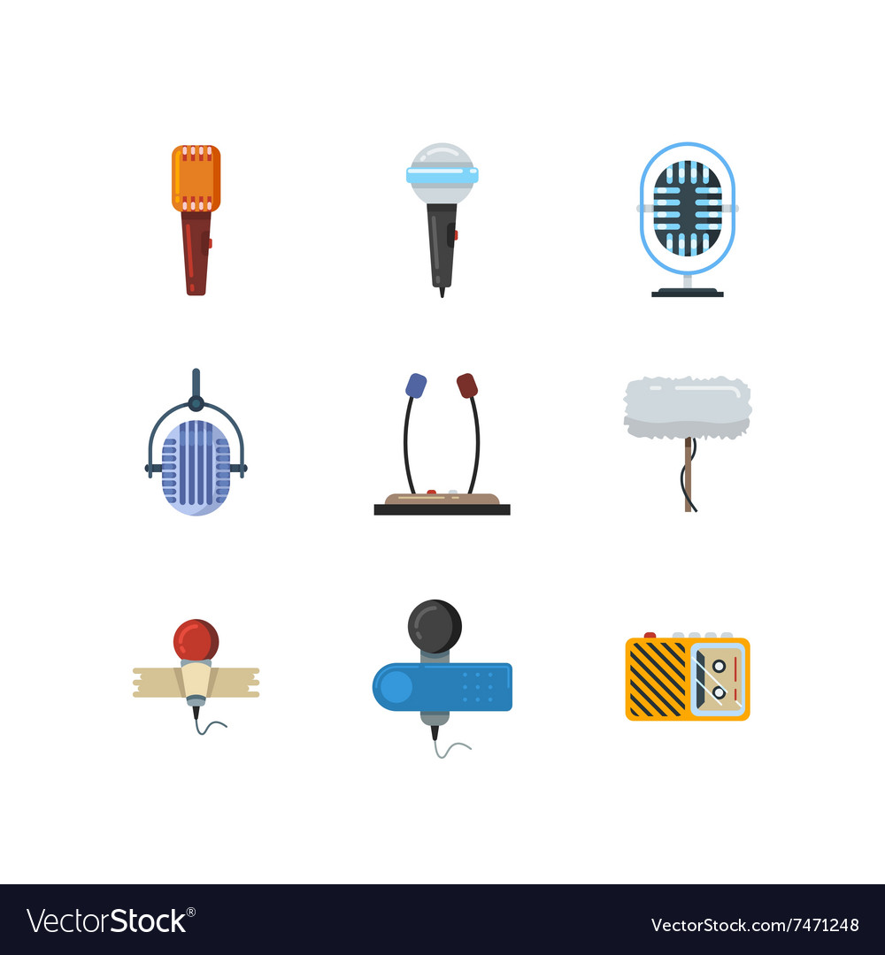 Different microphones and dictaphone flat vector image