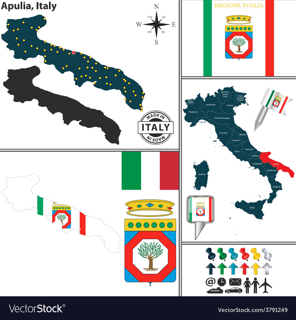 Map of Apulia Royalty Free Vector Image VectorStock
