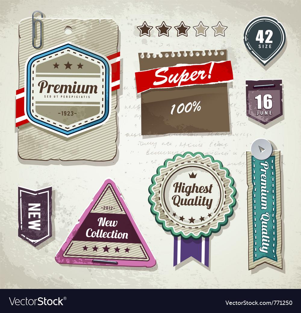 Set of grunge paper labels vector image