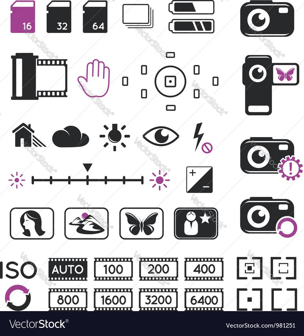 Camera display icons and symbols vector image