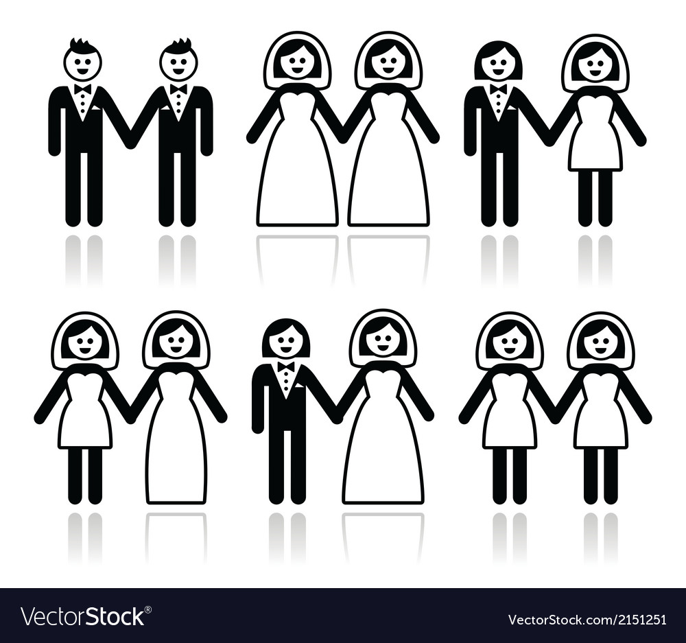 Gay and lesbian wedding - groom and bride icons se vector image