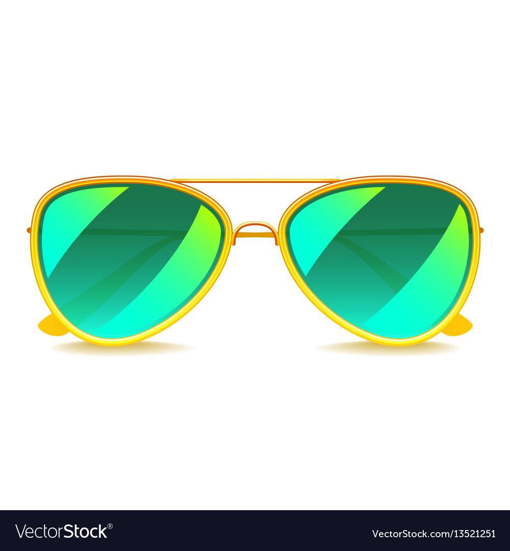 Green mirror sunglasses isolated on white vector image
