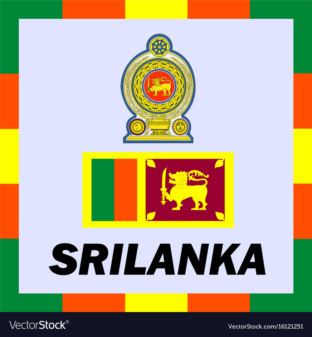 Official ensigns flag and coat of arm of srilanka vector image