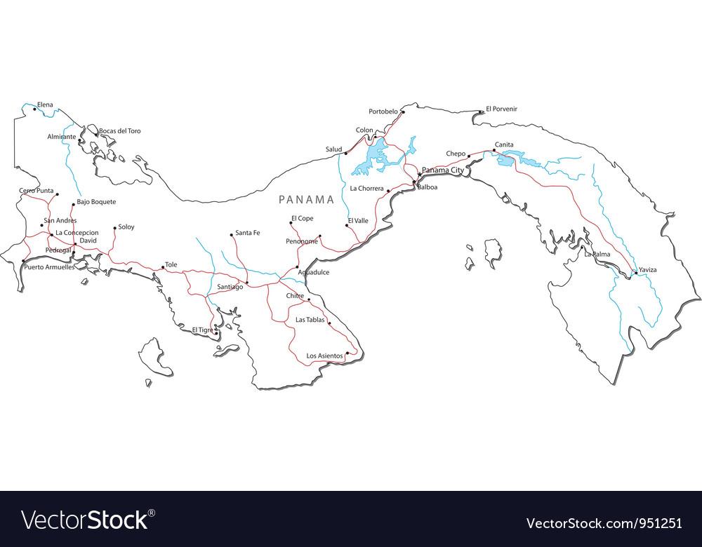 Panama Black White Map Royalty Free Vector Image - Panama map vector