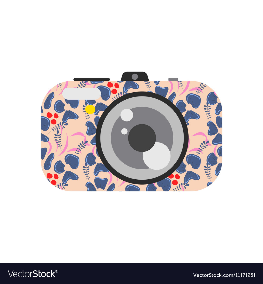 Photo digital camera with floral design vector image