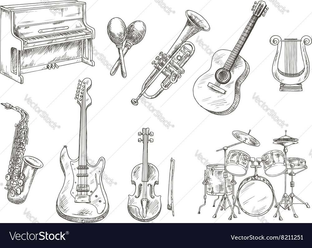 Sletched classic musical instruments set vector image