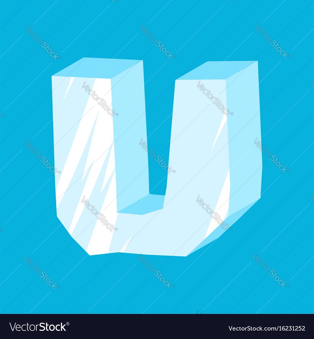 Letter u ice font icicles alphabet freeze vector image
