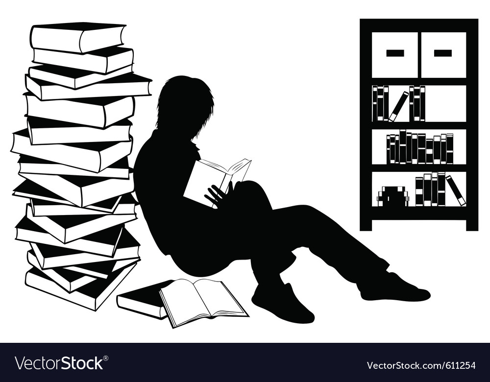 Silhouette of a girl reading a book vector image