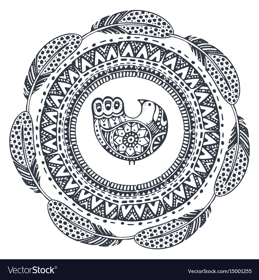 Beautiful print with hand drawn ethnic elements vector image