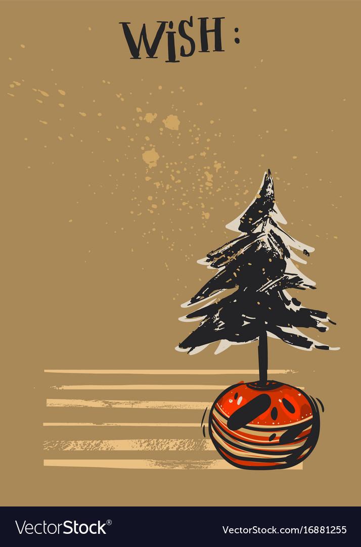 Hand drawn abstract textured christmas card vector image