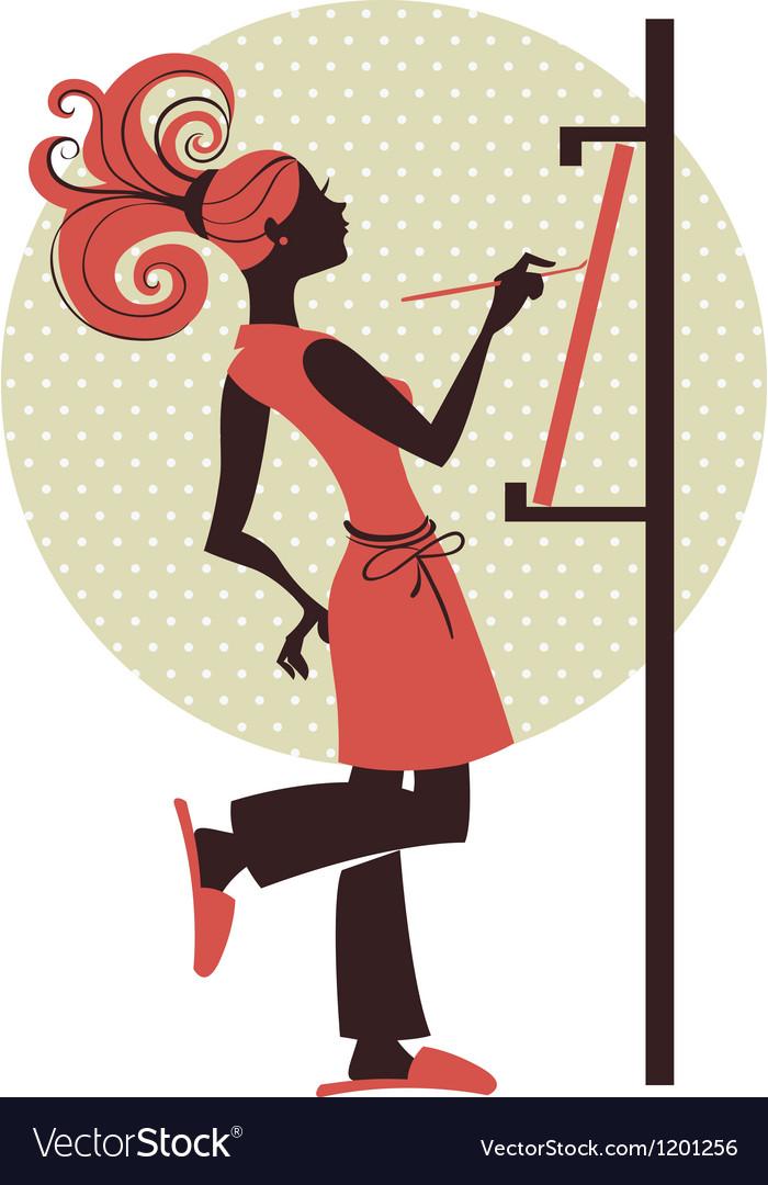 Silhouette of artist girl vector image
