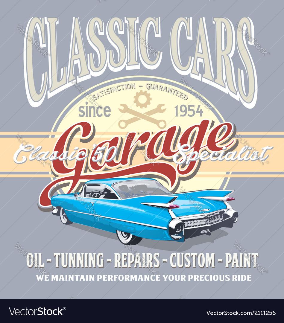 Classic car garage vector image