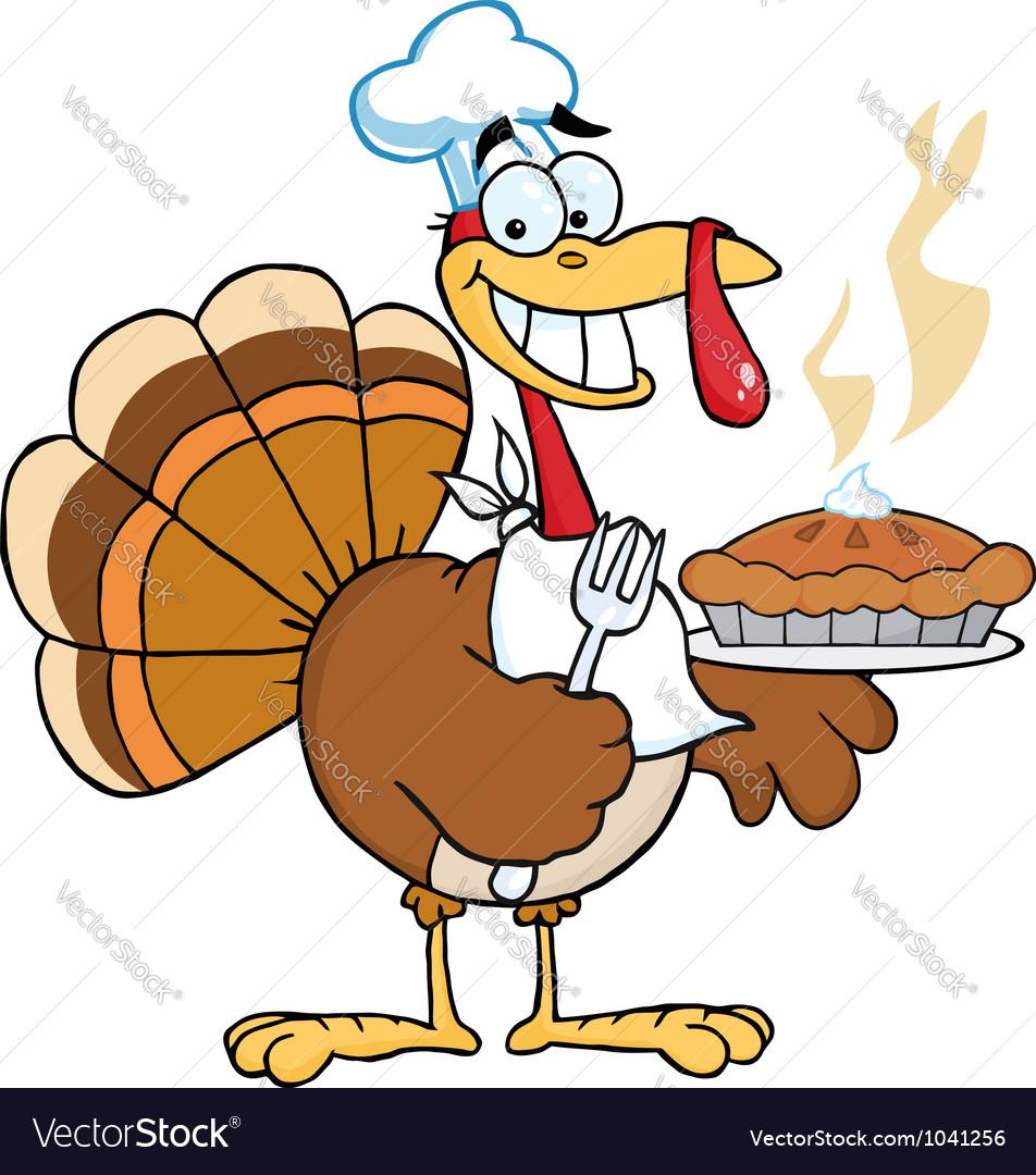 happy turkey chef with pumpkin pie royalty free vector image
