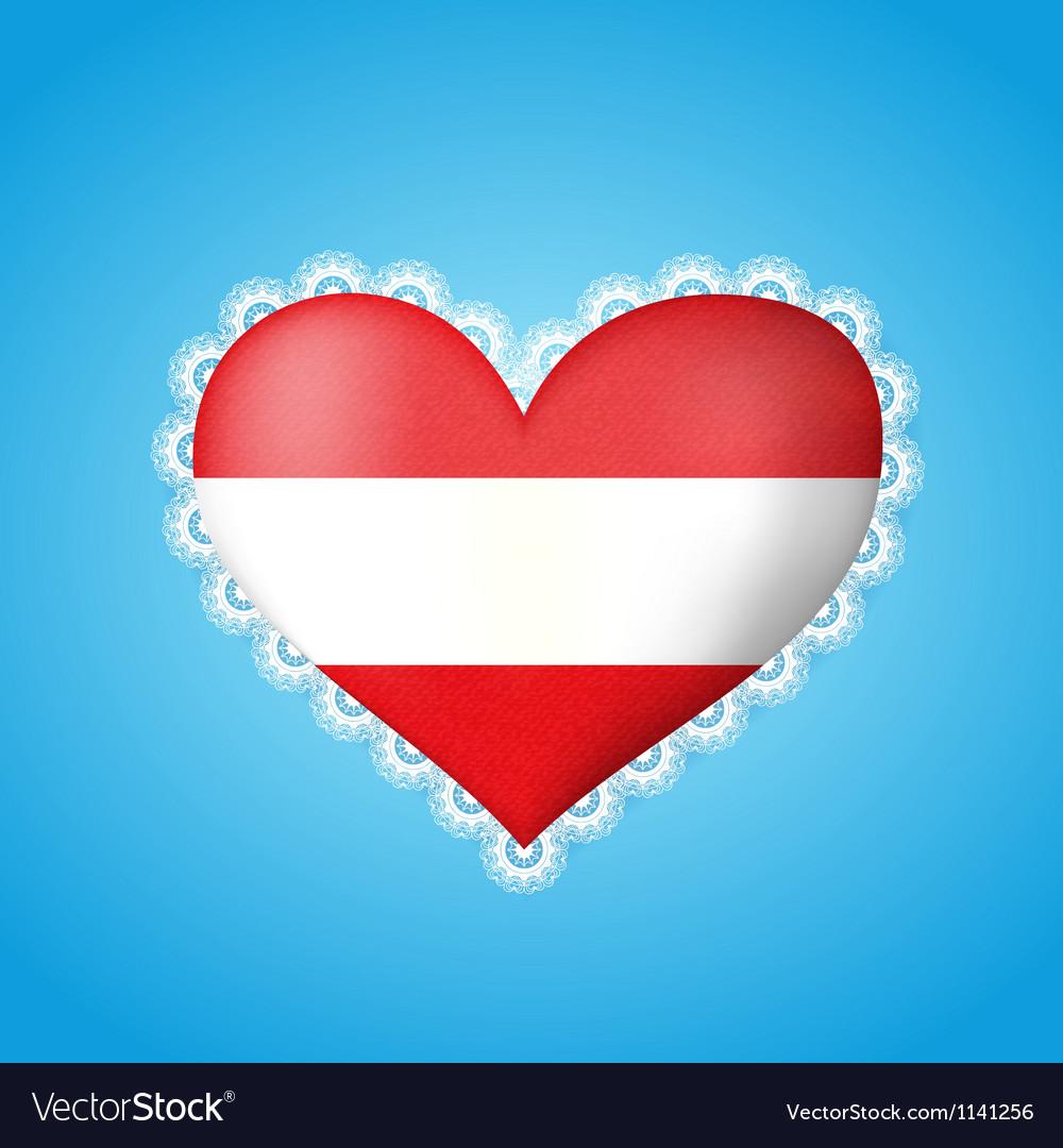Heart shape flag of Austria vector image