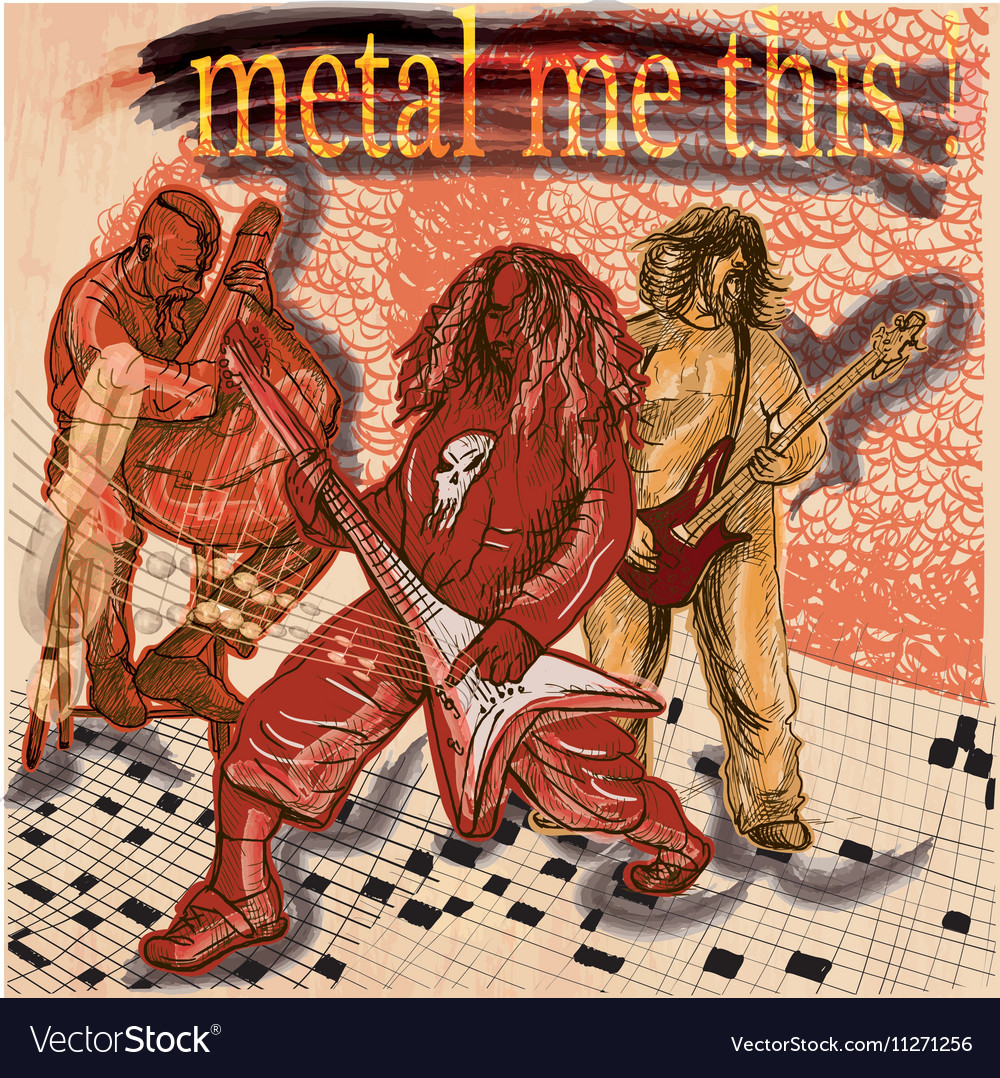 Metal music group An hand drawn picture Line art vector image