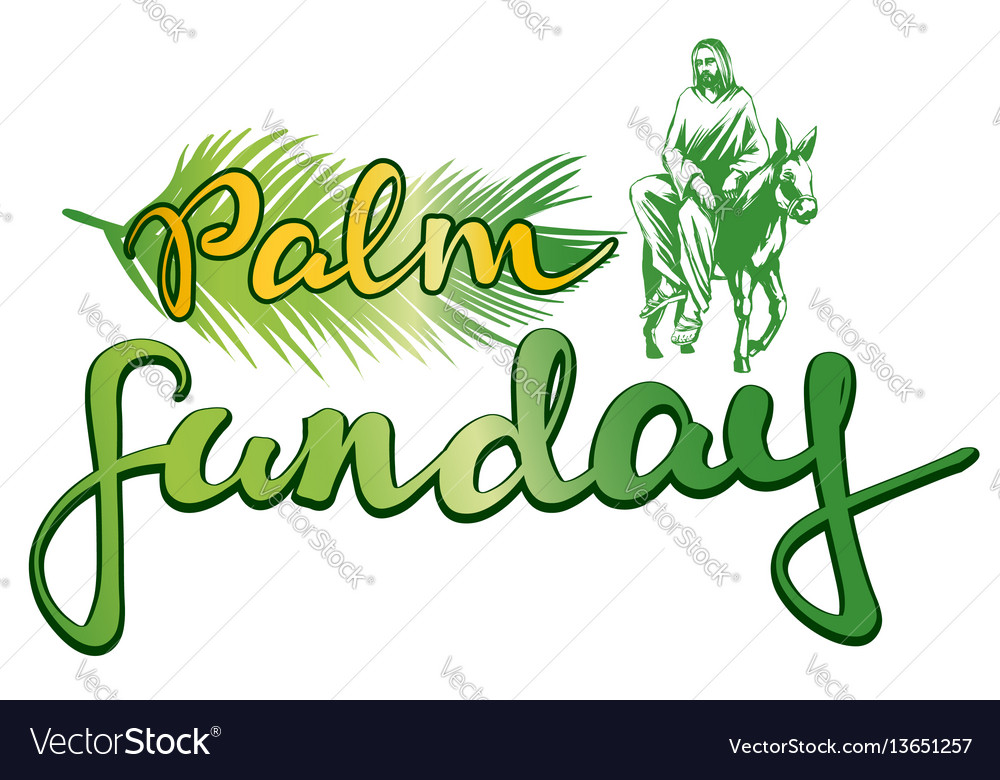 palm sunday jesus christ rides on a donkey into vector image