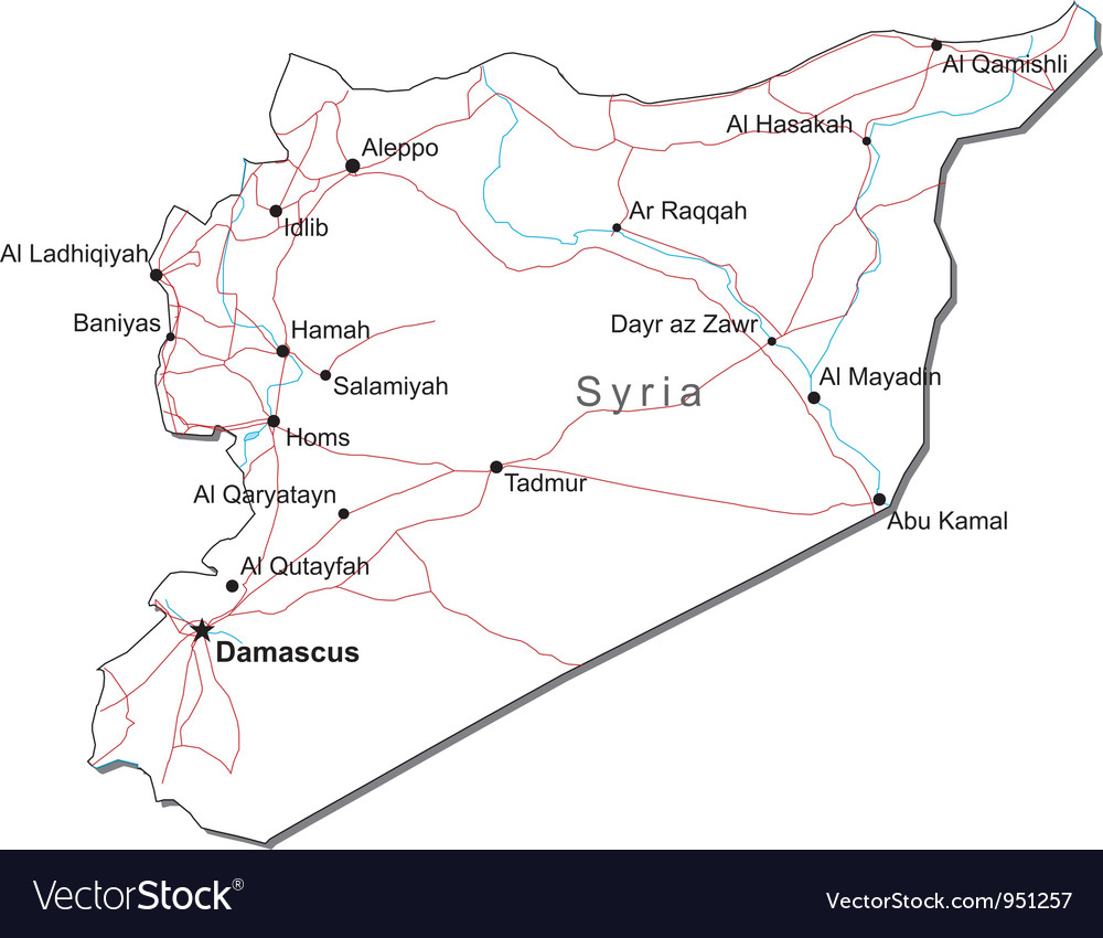 Syria Black White Map vector image