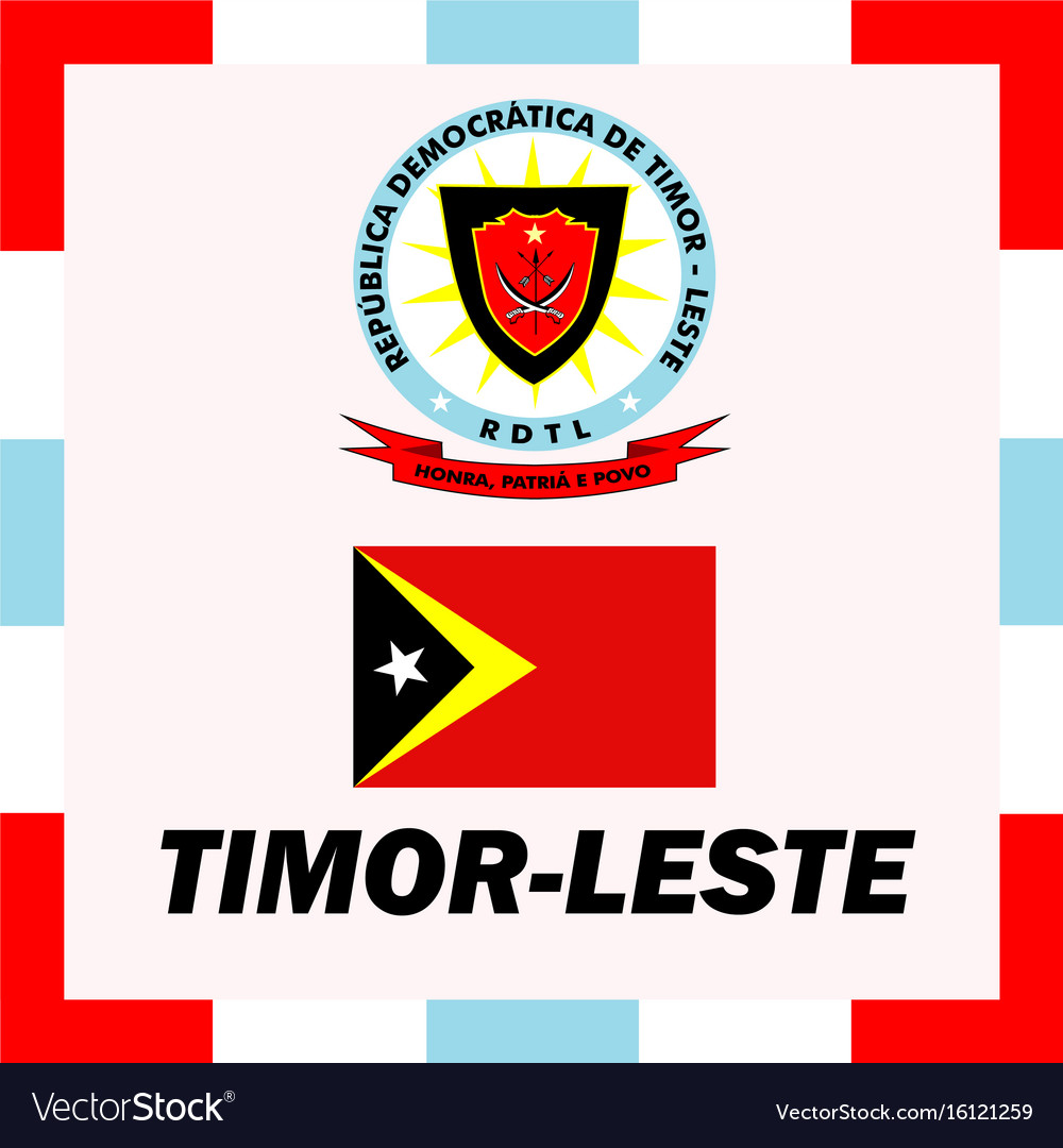 Official ensigns flag and coat of arm of timor vector image