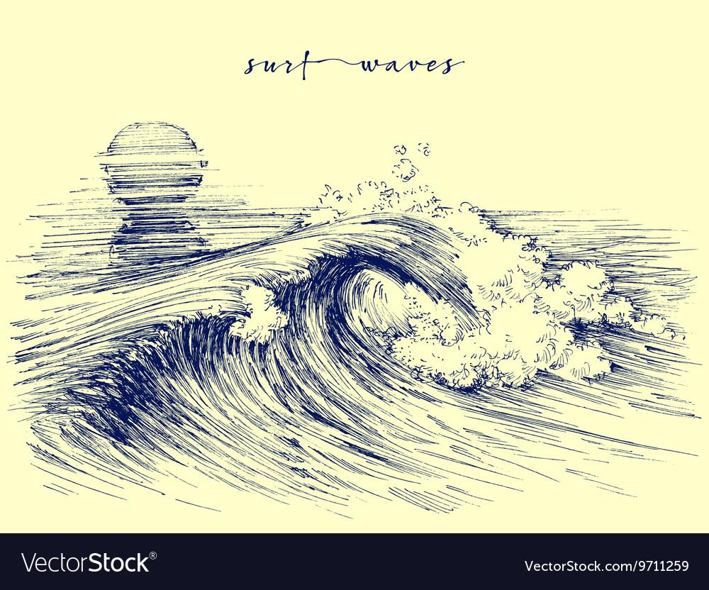 Surf waves Sea waves graphic Ocean wave sketch vector image
