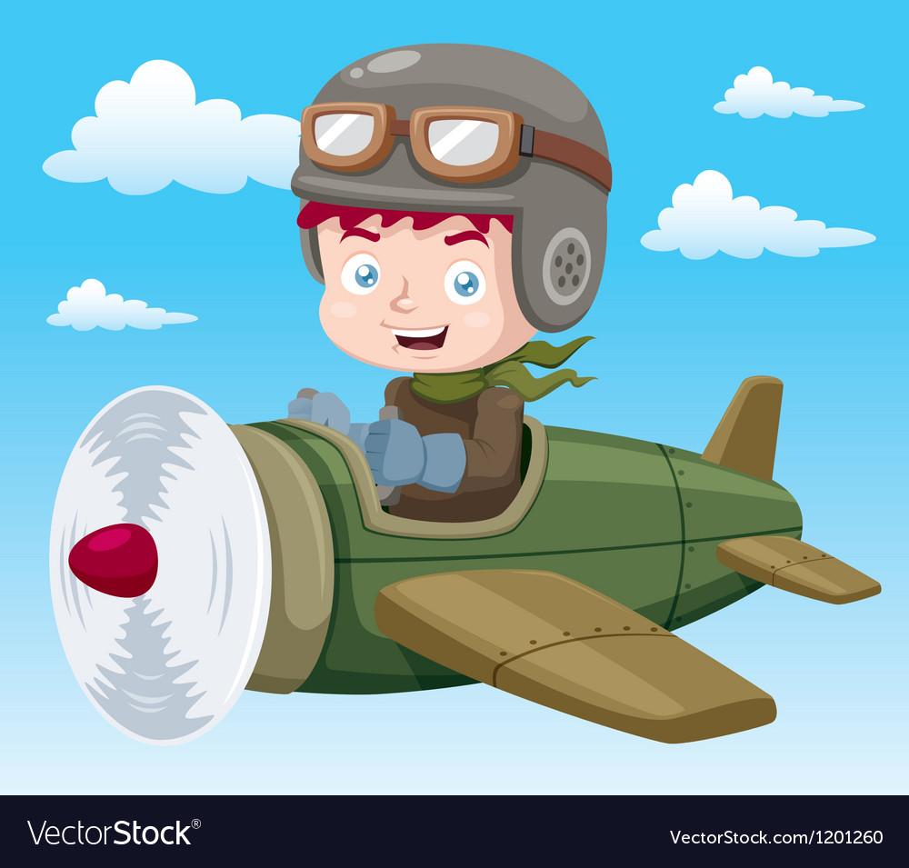 Boy on plane vector image