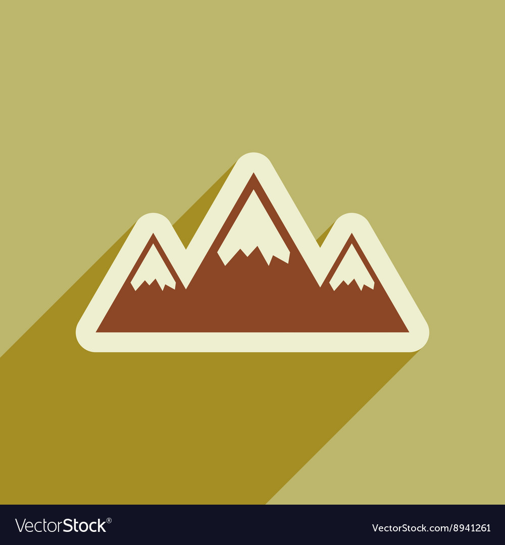 Flat web icon with long shadow mountains