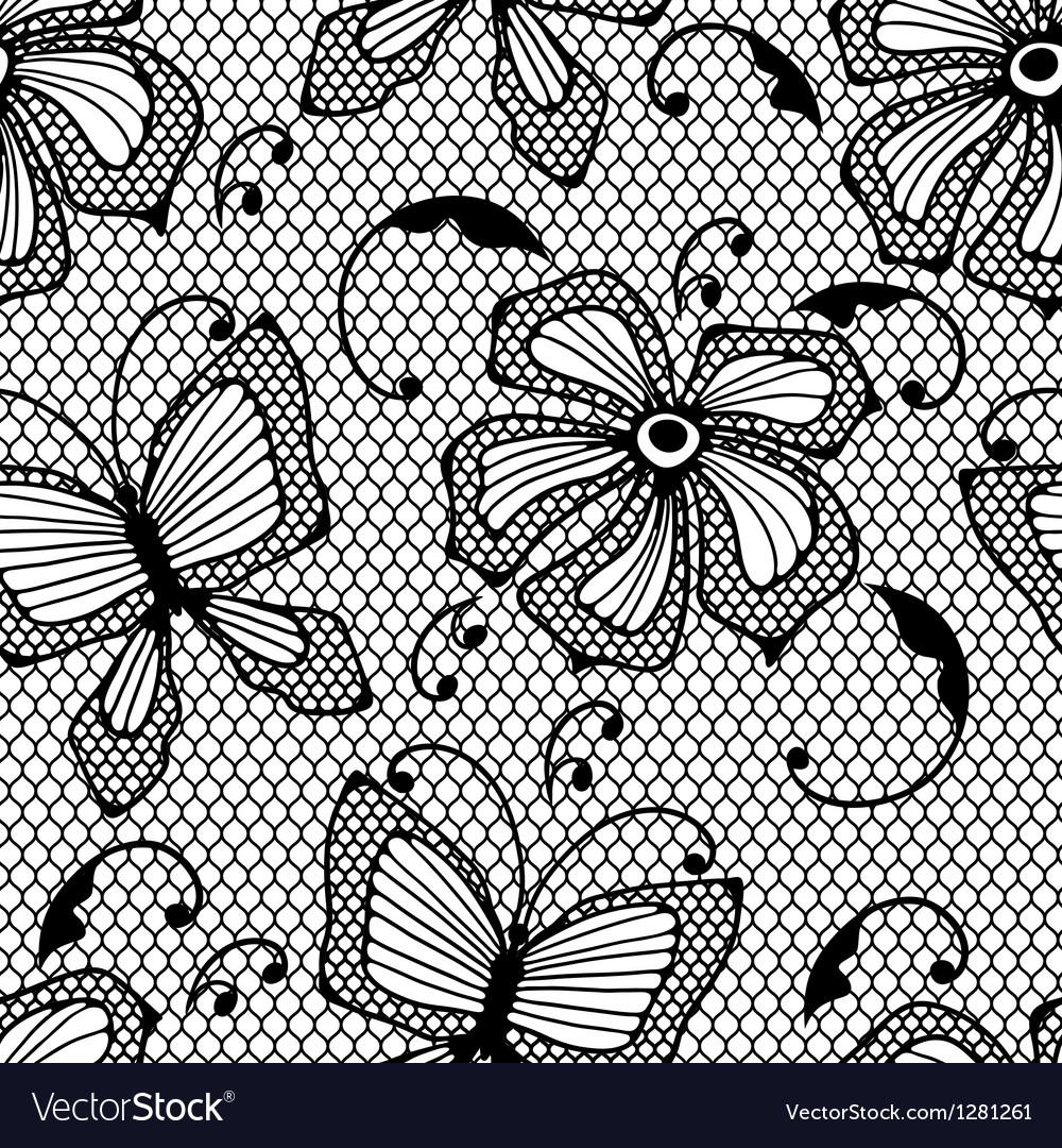 Seamless lace pattern with butterflies and flowers vector image