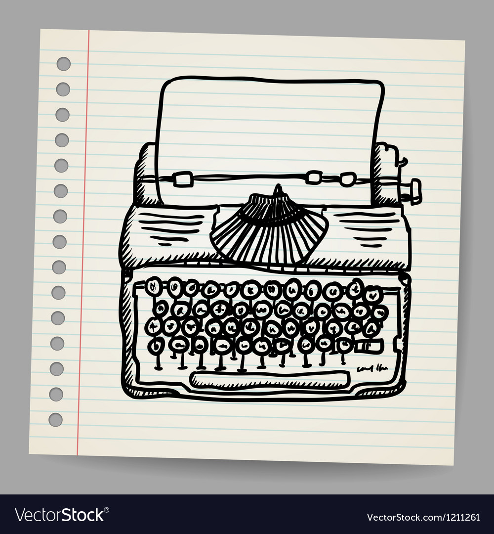 Sketchy of a typewriter machine vector image
