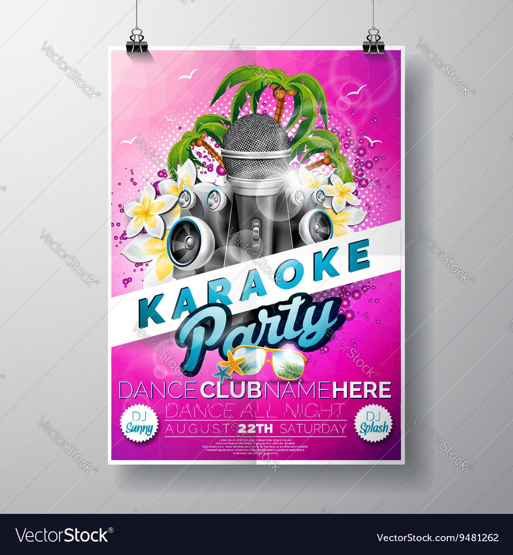 Flyer on a Summer Karaoke Party theme vector image