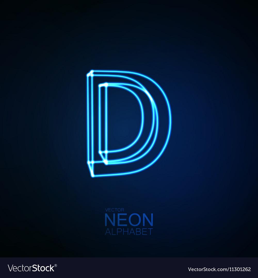 Neon 3D letter D vector image
